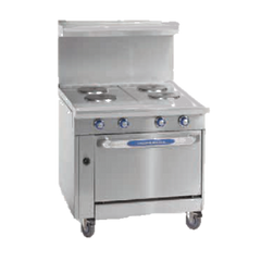 "Imperial Stainless Steel Thermostatic Controls Open Cabinet 36"" Wide Griddle Heavy Duty Electric Range"