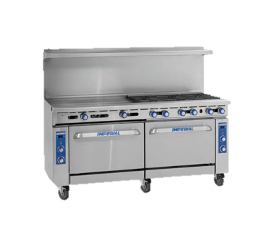 "Imperial Stainless Steel Eight Burner & Griddle Convection Oven & Open Cabinet 72"" Wide Gas Range"