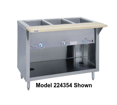 "Duke Thurmaduke™ Steamtable 32""W x 36""H x 25.5""D Stainless Steel Body Copper Manifolds Brass Valve With Adjustable Legs"