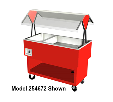 "Duke EconoMate™ Hot/Cold Portable Buffet 58.38""W x 33.38""H x 22.5""D Stainless Steel Top Steel Base Acrylic Canopy With Casters"