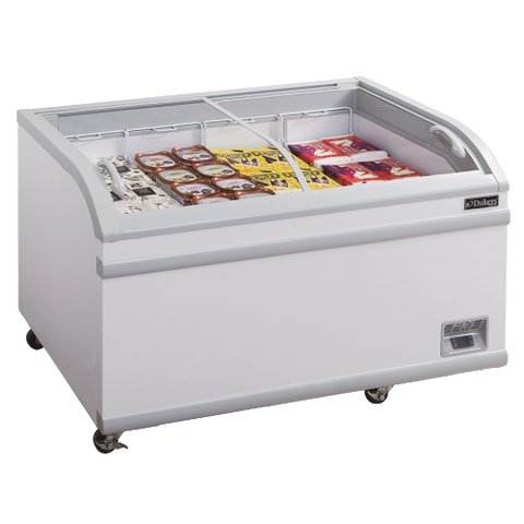 "Dukers Glass Sliding Two Door Chest Freezer Bottom Mount 24.72 cu. ft Capacity 79-3/8"" Wide White"