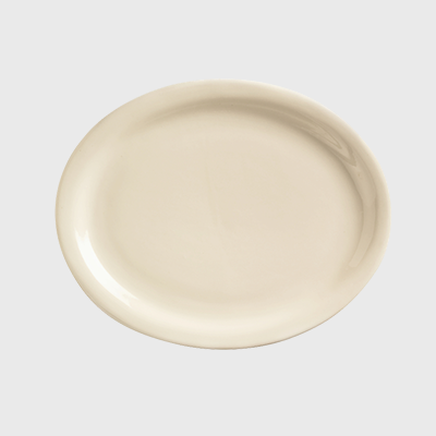 "World Tableware Platter Narrow Rim Cream White Stoneware 9-3/4"" x 7-1/2"" - 24/Case"