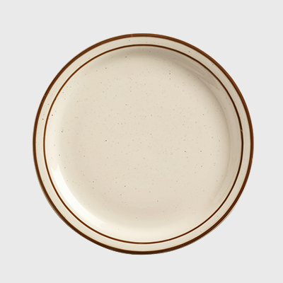 "World Tableware Desert Sand Round Plate Narrow Rim Cream White Stoneware 6-1/2"" - 36/Case"