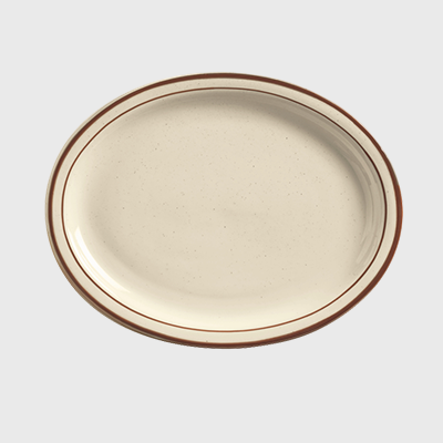 "World Tableware Desert Sand Oval Platter Narrow Rim Cream White Stoneware 11-1/2"" x 9-1/8"" - 12/Case"