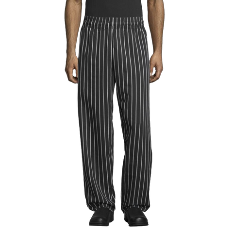 Uncommon Threads Chef Pants Medium Chalkstripe Pattern Unisex 65/35 Yarn-Dyed Poly/Cotton Twill