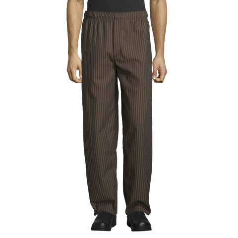 Uncommon Threads Chef Pants Large Black/Copper Pattern Unisex 65/35 Yarn Dyed Poly/Cotton Twill