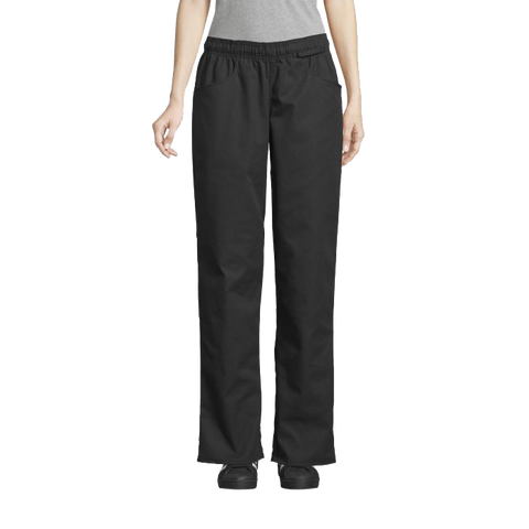 Uncommon Threads Women's Chef Pants Medium Black 65/35 Poly/Cotton Twill
