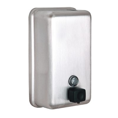 "Alpine Industries Stainless Steel Soap Dispenser Vertical Wall Mount  4-4/5"" W x 2-4/5""D x 8-1/10""H 40 oz. Capacity"