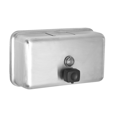 "Alpine Industries Stainless Steel Soap Dispenser Horizontal Wall Mount  40 oz. Capacity 4-4/5"" W x 2-4/5""D x 8-1/10""H"