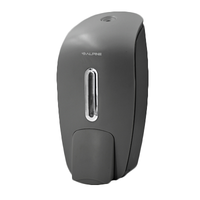 "Alpine Industries Soap Dispenser Gray Surface Mount Manual 27 oz Capacity  4-3/5""W x 4-1/10""D x 9-3/5""H"