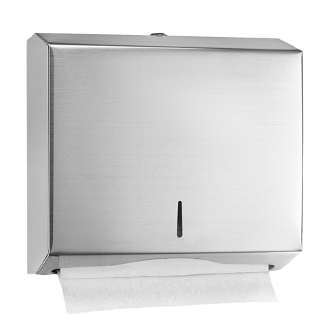 "Alpine Industries Towel Dispenser Brushed Finish 11-1/5""W x 4""D x 10-1/5""H With-Lock Wall Mounted"