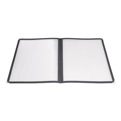 "Menu Cover Double Fold Black Plastic Holds 8-1/2"" x 11"" Paper"