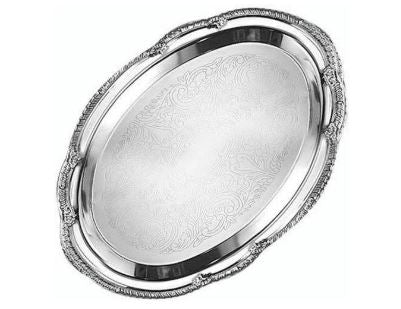 "superior-equipment-supply - American Metalcraft Inc. - AMC Affordable Elegance Oval Tray 18""L x 13""W x 1/2""H Chrome Plated"