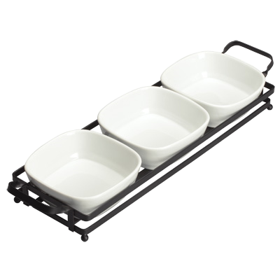 "Trio Bowl Set with Metal Stand Bright White Porcelain 16-1/2"" x 4-5/8"" - 12 Sets/Case"
