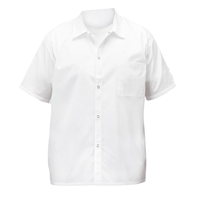 Broadway Chef Shirt White Small Short Sleeved 65/35 Poly-Cotton Blend