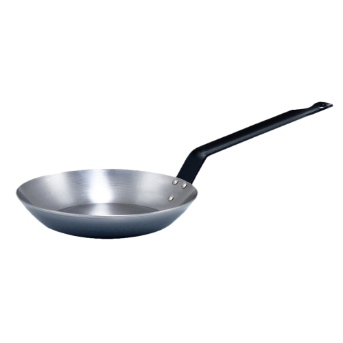 "Induction French Style Fry Pan Polished Carbon Steel 8-5/8"" Diameter"