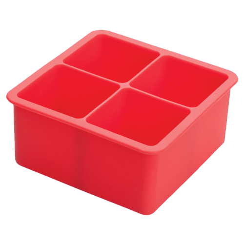 "Ice Cube Tray Red Silicone (4) 2"" Square Compartments"