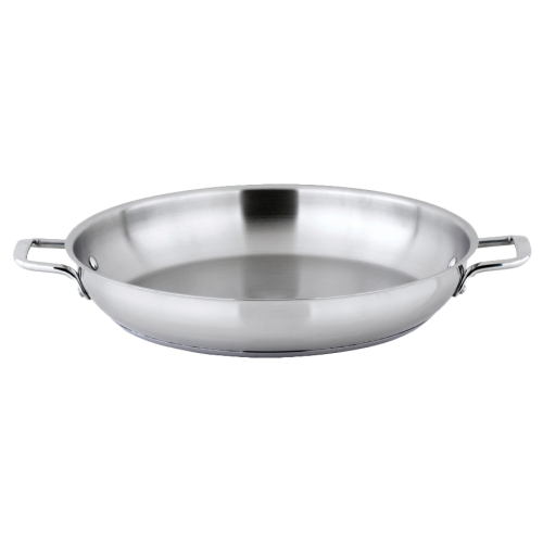 "Induction Omelet Pan with Handles Tri-Ply Heavy Duty Stainless Steel 14"" Diameter x 2-1/4"" Height"