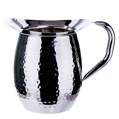 Bell Pitcher Hammered Heavy Weight Stainless Steel Mirror Finish 2 qt.