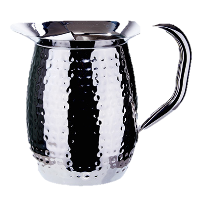 superior-equipment-supply - Winco - Deluxe Bell Pitcher Heavyweight Stainless Steel Hammered Mirror Finish 3 Quart