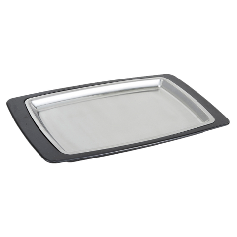 "Platter & Underliner Set with 11"" x 7"" Stainless Steel Platter & Bakelite Underliner"