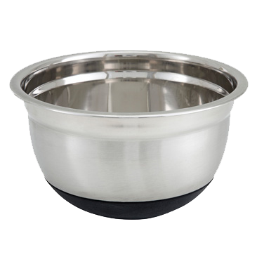Stainless Steel German Mixing Bowl With Black Non-Slip Silicone Base 5 Quart