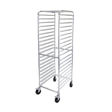 "Sheet Aluminum Mobile Sheet Pan Rack Four 5"" Casters (Two with Brakes)"