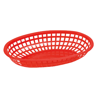 "Basket Oval Red BPA Free Heavy Duty Plastic 10-1/4"" x 6-3/4"" x 2""H - One Dozen"
