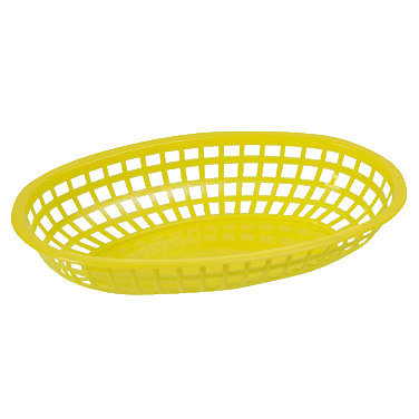 "Basket Oval Yellow BPA Free Heavy Duty Plastic 10-1/4"" x 6-3/4"" x 2""H - One Dozen"