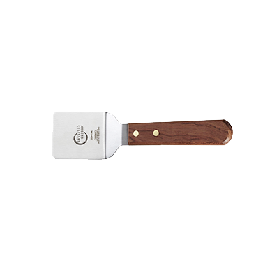 "superior-equipment-supply - Mercer Tool - Mercer Culinary Japanese Stainless Steel 2"" x 3"" Blade Praxis Square Edge Mini Turner With Rosewood Handle"