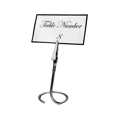 "Table Sign Clip Swirly Base with ""C"" Shape - 6 Clips/Pack"