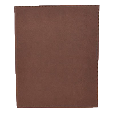 "Menu Cover Double Brown Leather-Like Holds 8-1/2"" x 11"" Paper"