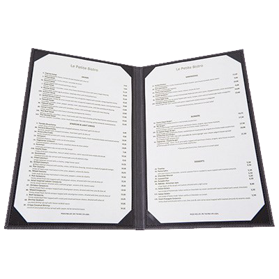 "Menu Cover Double Black Leather-Like Holds 8-1/2"" x 14"" Paper"