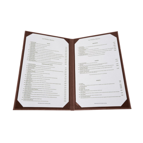 "Menu Cover Double Brown Leather-Like Holds 8-1/2"" x 14"" Paper"