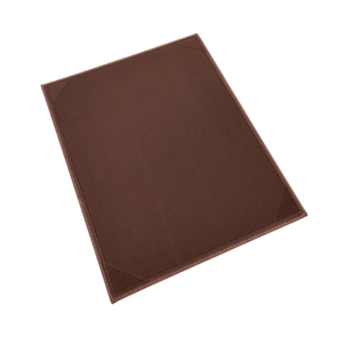 "Menu Cover Single Brown Leather-Like Holds 8-1/2"" x 11"" Paper"