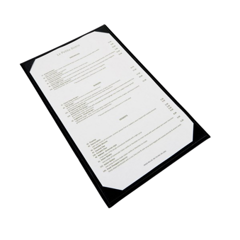 "Menu Cover Single Black Leather-Like Holds 8-1/2"" x 14"" Paper"