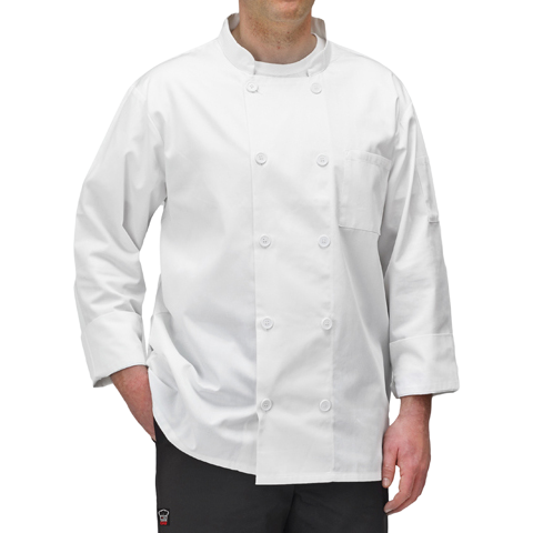 Chef Jacket Universal Fit White Large 65/35 Poly-Cotton Blend
