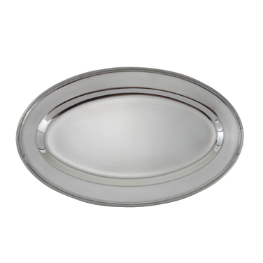 "Platter Oval 18/8 Heavy Stainless Steel 14""L x 8-3/4""W"