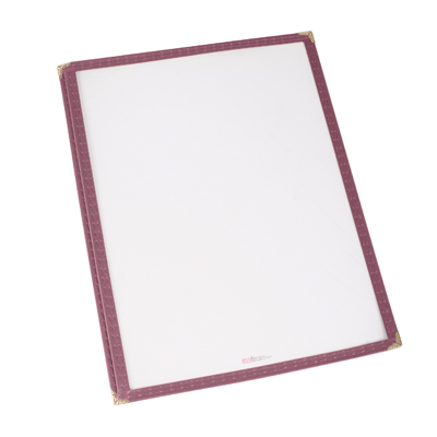 "Menu Cover Single Burgundy Plastic Holds 8-1/2"" x 14"" Paper"