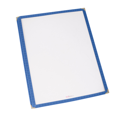 "Menu Cover Single Blue Plastic Holds 8-1/4"" x 11-1/4"" Paper"