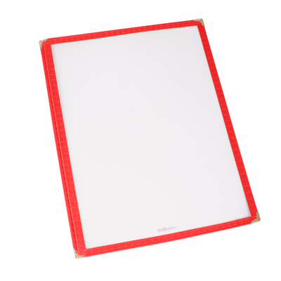 "Menu Cover Single Red Plastic Holds 8-1/4"" x 11-1/4"" Paper"