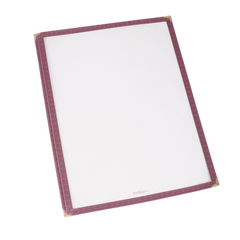 "Menu Cover Single Burgundy Plastic Holds 8-1/4"" x 11-1/4"" Paper"