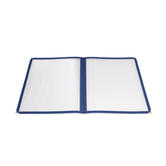 "Menu Cover Double Fold Blue Plastic Holds 8-1/2"" x 11"" Paper"