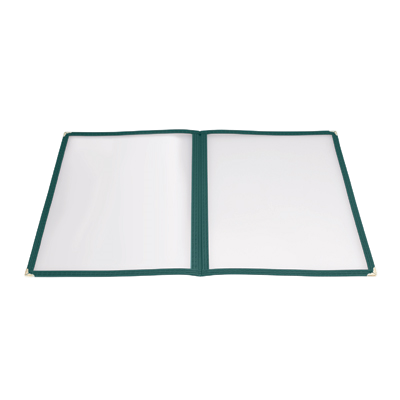 "Menu Cover Double Fold Green Plastic Holds 8-1/2"" x 11"" Paper"