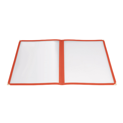 "Menu Cover Double Fold Red Plastic Holds 8-1/2"" x 11"" Paper"