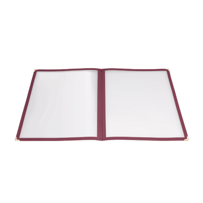 "Menu Cover Double Fold Burgundy Plastic Holds 8-1/2"" x 11"" Paper"