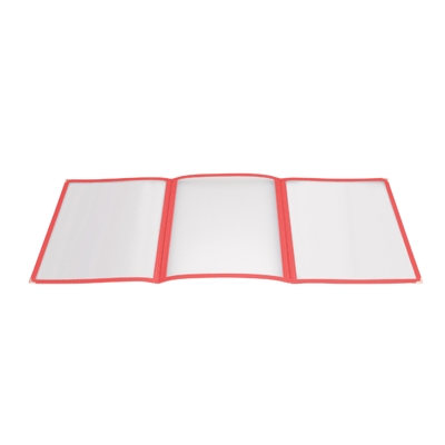 "Menu Cover Triple Fold Red Plastic Holds 8-1/2"" x 11"" Paper"