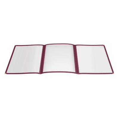 "Menu Cover Triple Fold Burgundy Plastic Holds 8-1/2"" x 11"" Paper"
