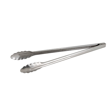 Utility Tongs Scalloped Edge Extra Heavy Weight 1.2 mm Stainless Steel 16""