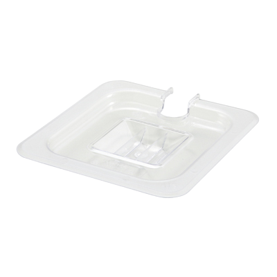 Poly-Ware Food Pan Cover with Handle 1/6 Size Slotted Polycarbonate